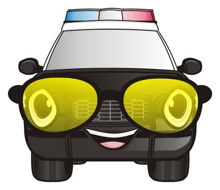 smiling face of police car in yellow sunglasses