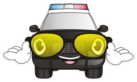 flashers: happy face of police car in sunglasses and with hands