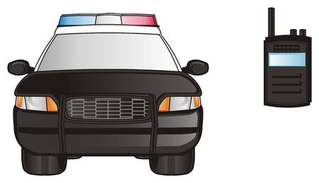 flashers: black police car with radio