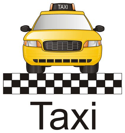 yellow taxi with word and checkerboard