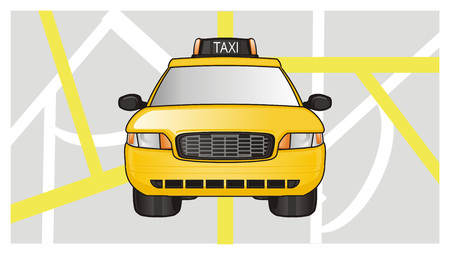 yellow taxi car on the middle of map Stock Photo