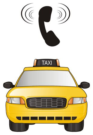 one yellow taxi car and calling phone