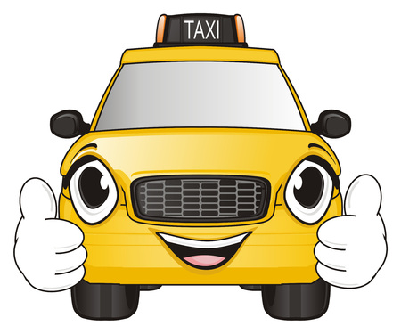 happy face of taxi car show gesture cool Stock Photo