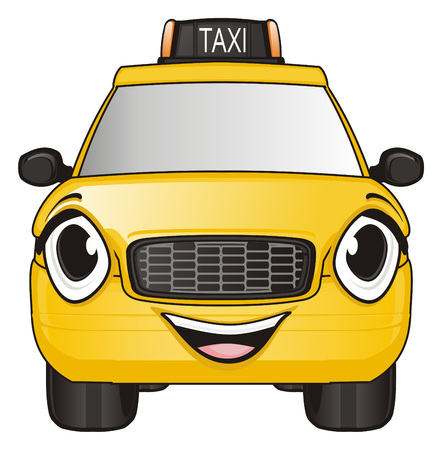 smiling face of taxi car