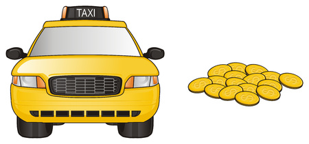 one yellow taxi car with many coins