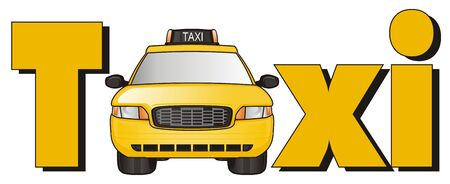 one yellow taxi stick out from word taxi