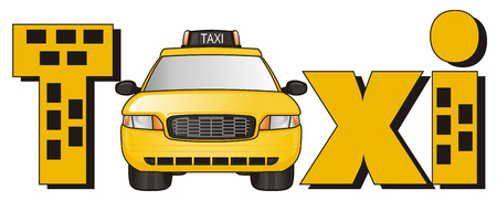 stick out: taxi car peek up from from word taxi Stock Photo
