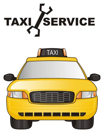 one yellow taxi and word service