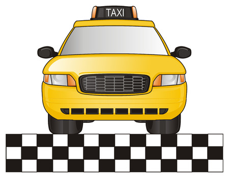 taxi car with checkerboard