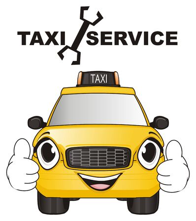 smiling face of taxi car with word service Stock Photo