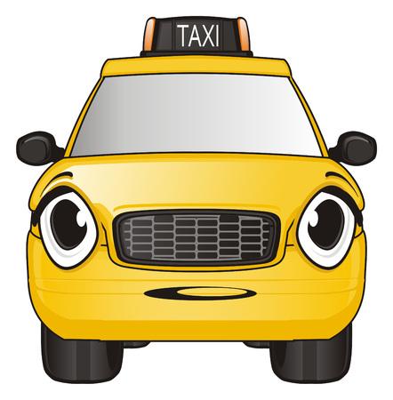 Surprise face of taxi car