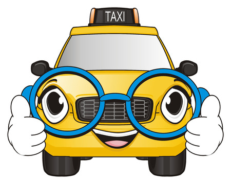 happy face of taxi car in glasses show gesture class