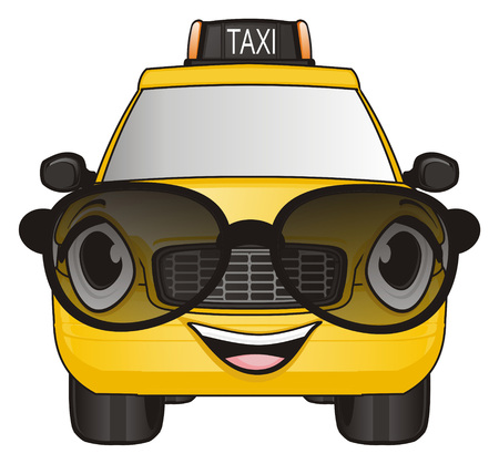 smiling face of taxi car in sunglasses
