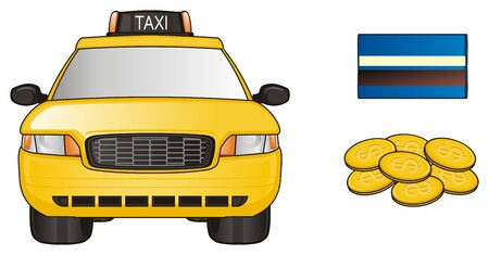 taxi car with credit card and coins