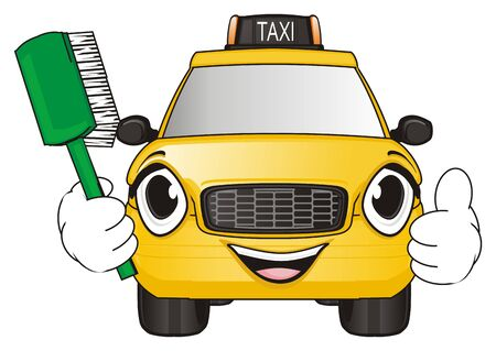brash: happy face of yellow taxi hold a brash and show gesture class Stock Photo