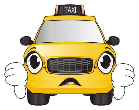 Surprise face of taxi show gesture bad