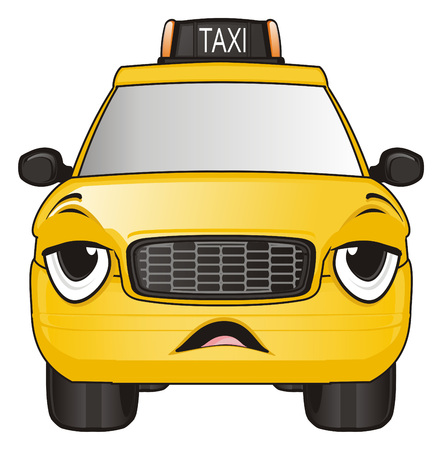 tired face of yellow taxi car with opened mouth Stock Photo