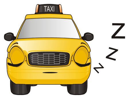 sleeping face of yellow taxi car with letters z