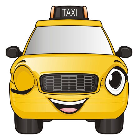 happy face of yellow taxi smiling