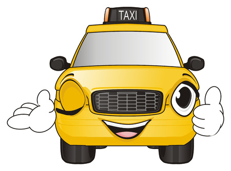 happy face of yellow taxi