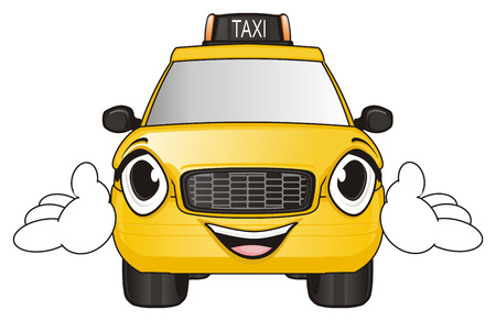 Happy face of yellow taxi with hands Stock Photo