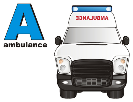 colore: ambulance car and abc
