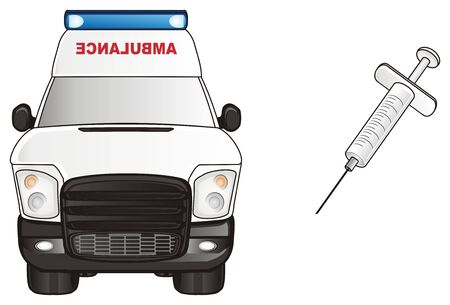 colore: ambulance car with needle Stock Photo