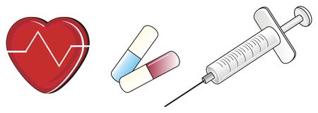 syringe: three different medicines objects