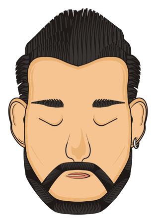 earrings: face of man Stock Photo