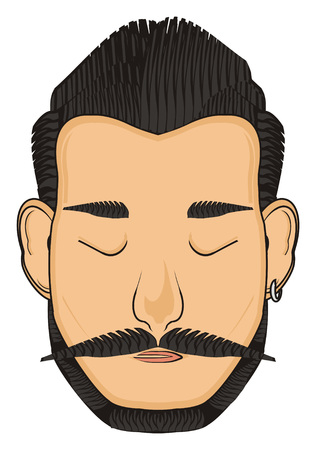 earrings: face of man with long mustache