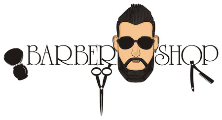 colored head of man in sunglasses with barbers shop signs and words Stock Photo