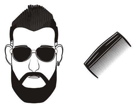 black head of man in sunglasses with comb