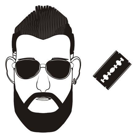 black head of man in sunglasses with blade razor