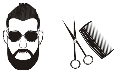black head of man in sunglasses with comb and scissors Stock Photo