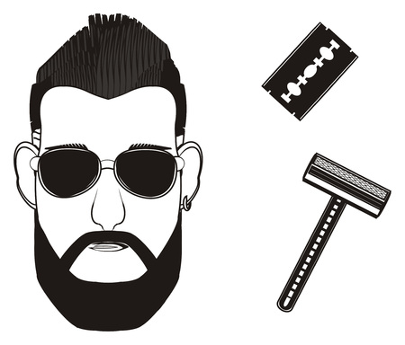 black head of man in snglasses and two different razors
