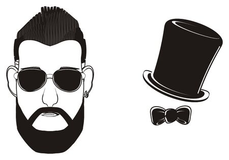 earrings: black head of man in snglasses with hat and a bow