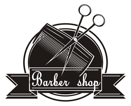 comb with scissors on the middle of barber shop icon Stock Photo