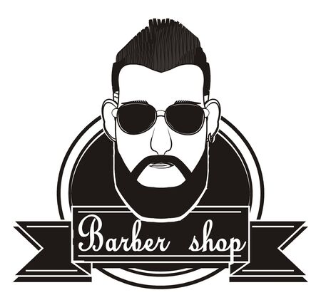 black had of man in sunglasses on the middle of barber shop icon Zdjęcie Seryjne