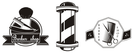 different icons of barber shop Stock Photo