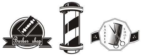 three different icons of barber shop
