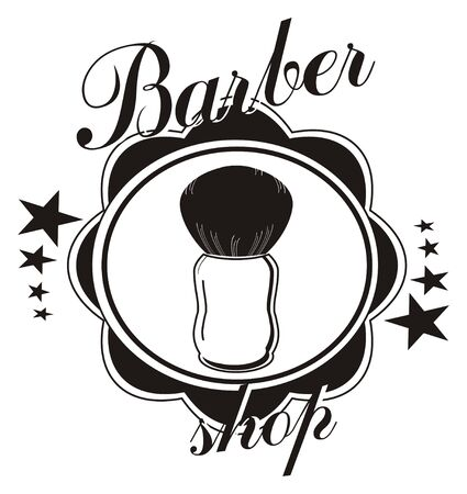 icon of barber shop with shaving brush