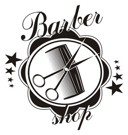 icon of barber shop with comb and scissors