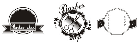 three barbers shop icons Stock Photo