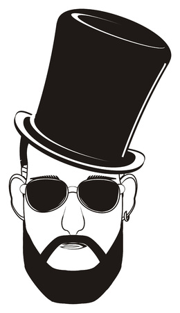 black face of man in black hat and sunglasses