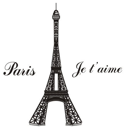Black and white Eiffel tower with words Paris je taime