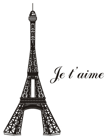 Black and white Eiffel tower with words je taime