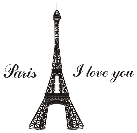 Black and white Eiffel tower with words Paris i love you Reklamní fotografie
