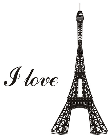 Black and white Eiffel tower with words i love