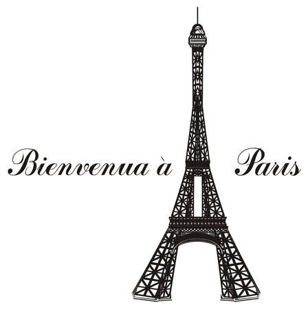 Black and white Eiffel tower with words bienvenua a Paris