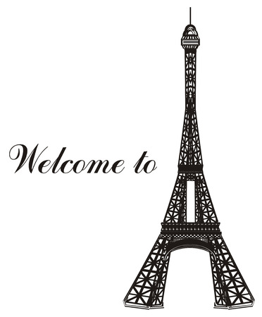 Black and white Eiffel tower with words welcome to